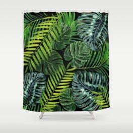 Jungle Tangle Green On Black Shower Curtain