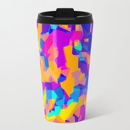 pink purple blue orange and yellow geometric painting abstract background Travel Mug