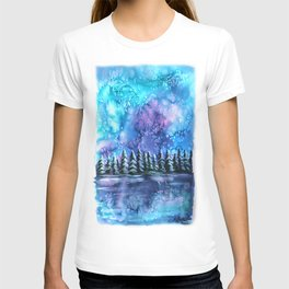 Watercolor Winter Pines under the Northern Lights T-shirt