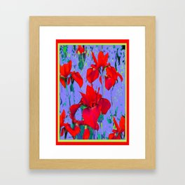 Red Iris In Lilac Colored Modern Abstract Pattern Framed Art Print