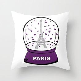 Paris Boule à cœurs Throw Pillow