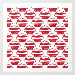 Doodled cupcakes - red and white Art Print