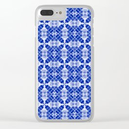 Sapphire Blue Quilt Clear iPhone Case