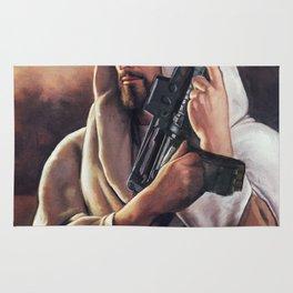 Assault Rifle Jesus Christ Messiah - Who WOuld Jesus Shoot Rug