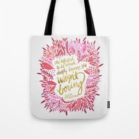 fitzgerald Tote Bags featuring Zelda Fitzgerald – Pink on White by Cat Coquillette