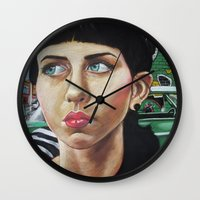 john green Wall Clocks featuring GREEN by John McGlynn