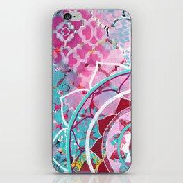 Pink and Turquoise Mixed Media Mandala iPhone Skin