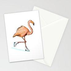 Flamingo on ice Stationery Cards
