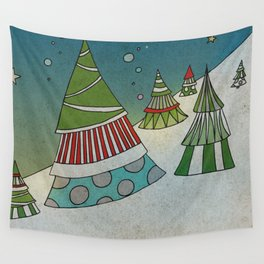 Winter Night on Mountains Wall Tapestry