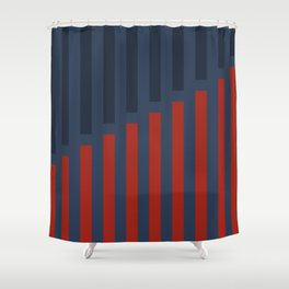 Vertically Red and Blue Shower Curtain