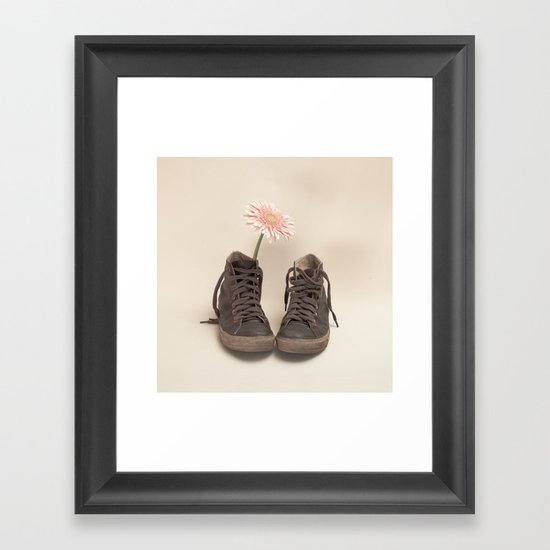 Brown Converse Boots and Pink Flower (Retro Still Life Photography)  Framed Art Print
