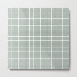 Ash gray - grey color - White Lines Grid Pattern Metal Print