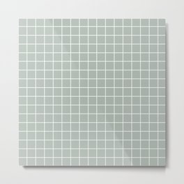 Ash gray - grey color - White Lines Grid Pattern Metal Print