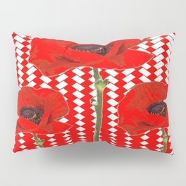 RED ON RED POPPIES ART Pillow Sham