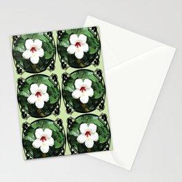 White Hibicus Flower Stationery Cards