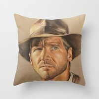 indiana jones Throw Pillows featuring Indiana Jones by Ashley Anderson
