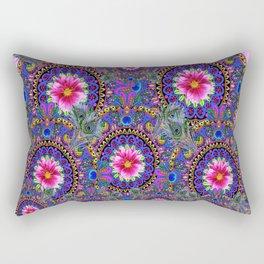 PINK & BLUE #2 PEACOCK MANDALAS WITH  FUCHSIA FLOWER ART Rectangular Pillow