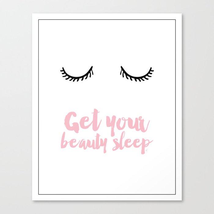 Beauty sleep Pink typography Canvas Print