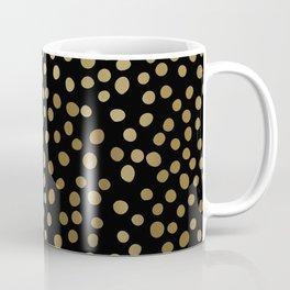 Christmas, Gold and Black, Polka Dots Coffee Mug