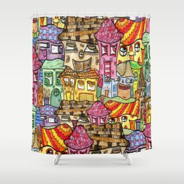 Suburbia watercolor collage Shower Curtain