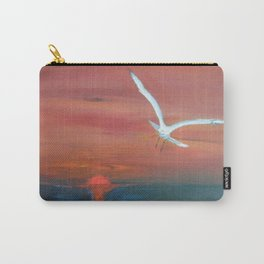 Seagull flying with Peace and Love Carry-All Pouch