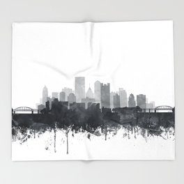 Pittsburgh Skyline Black & White Watercolor by Zouzounio Art Throw Blanket