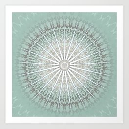 Mint Taupe Mandala Art Print