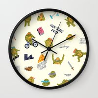 teenage mutant ninja turtles Wall Clocks featuring Teenage Mutant Ninja Turtles by catalinabu
