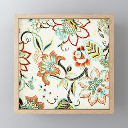Spring Yellow Red Flowers On Vine Framed Mini Art Print