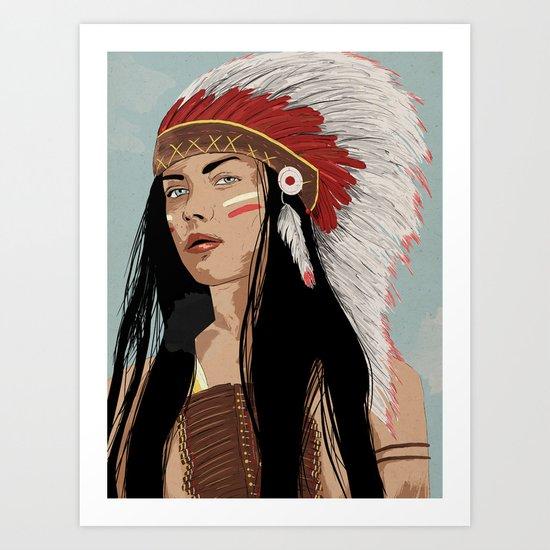Girl in Headdress  Art Print
