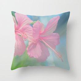 Tender macro shoot of pink hibiscus flowers Throw Pillow