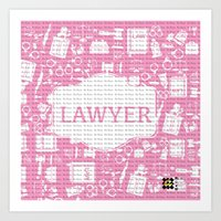 lawyer Art Prints featuring Pink Lawyer by Be Raza