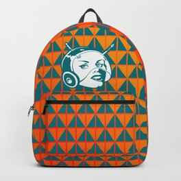 Faces: SciFi lady on a teal and orange pattern background Backpack
