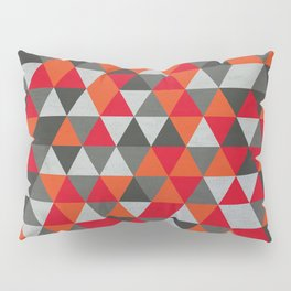 Hot Red and Grey / Gray -  Geometric Triangle Pattern Pillow Sham