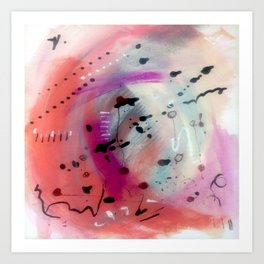 Alex - a bright acrylic and ink abstract pattern in pinks, blues, and purple Art Print