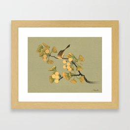 Bird in Ginkgo Tree Framed Art Print