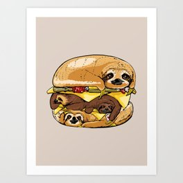 Sloths Burger Art Print