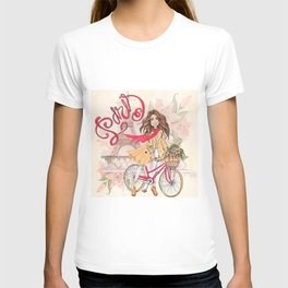 Beautiful Girl On A Bicycle In Paris T-shirt
