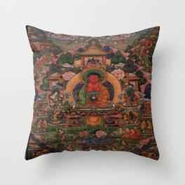Buddha Amitabha in His Pure Land of Suvakti Throw Pillow