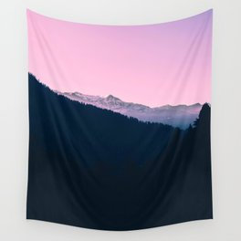 Pink Sunset Rolling Hill Silhouette Landscape Photo Wall Tapestry