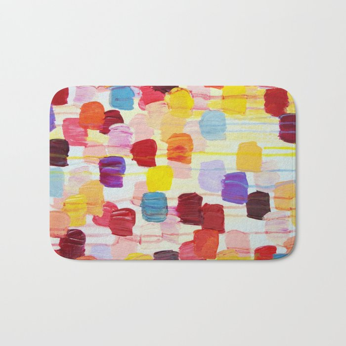 DOTTY - Stunning Bright Bold Rainbow Colorful Square Polka Dots Lovely Original Abstract Painting Bath Mat