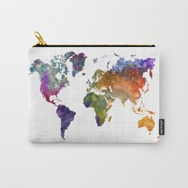 World map in watercolor 26 Carry-All Pouch