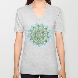 Cyan & Golden Yellow Sunny Skies Medallion Unisex V-Neck