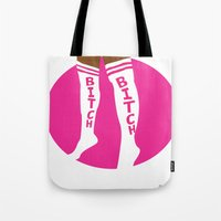 bitch Tote Bags featuring BITCH by TheArtGoon