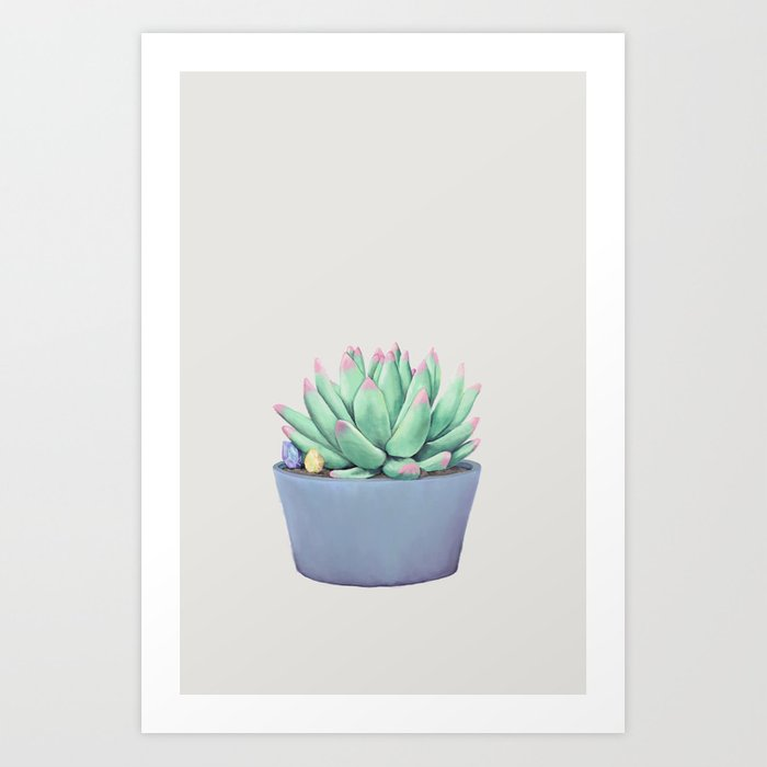Small Potted Succulent with Crystals Art Print