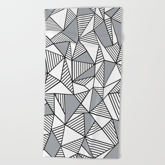 Abstract Lines With Grey Blocks Beach Towel