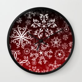 Symbols in Snowflakes on Holly Berry Wall Clock