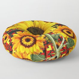 SOUTHWESTERN  BLACK COLOR YELLOW SUNFLOWERS ART Floor Pillow