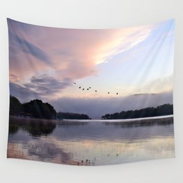 Uplifting: Geese Rise at Dawn on Lake George Wall Tapestry