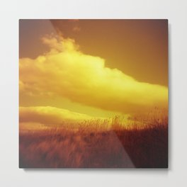 Red Sky at Night - Redscale Film Photograph on Chincoteague Island Metal Print